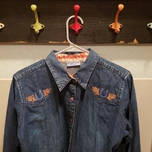 Wrangler Blues Denim Pearl Snap Horseshoe …